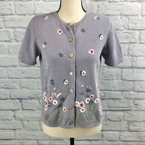 Alfred Dunner Floral Embroidered Cardigan Sweater